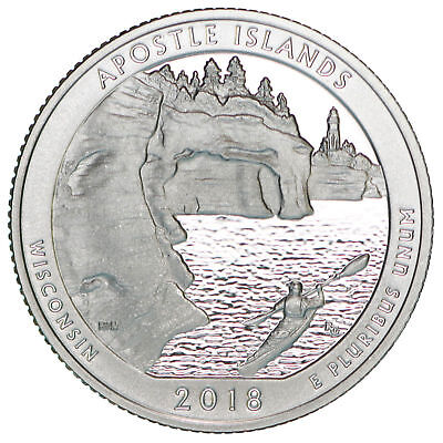 """2018-S 25C ATB Quarter Apostle Island ah GDC-CLAD """"Only 50 Cents for Shipping"""""""