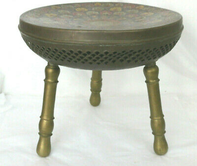 Morocan Antique Brass Hand Painted Foot Stool Ottoman Seat Warmer