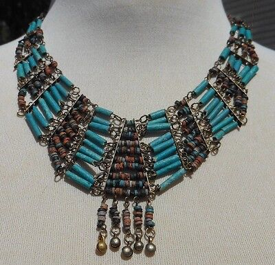 VINTAGE Egyptian Revival TURQUOISE FAIENCE TUBE BEADS BRASS BIB NECKLACE
