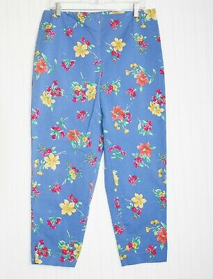 Talbots size 16 cropped pants, capris, bright blue with flowers, MINT!