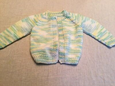 Vintage Handmade Knit Baby Toddler Sweater Green Yellow Zip Front