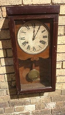 Heavy Old Industrial Oak Case Wall Clock