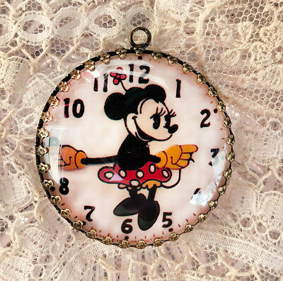 MINNIE MOUSE  ~ XL ROUND 35mm PENDANT Filigree VINTAGE WATCH Clock DIAL Face