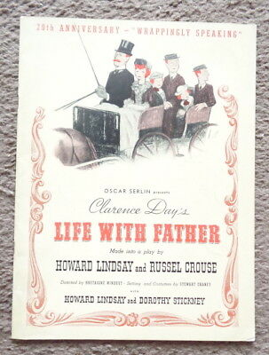 souvenir program Life With Father 1941 Clarence Day Howard Lindsay