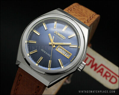 New Old Stock DUWARD OCEANIC automatic vintage watch, Navy blue dial NOS FE 4612