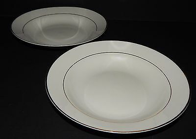 2 Gibson Designs Housewares Everyday China White w/ Gold Rim Soup Cereal Bowls