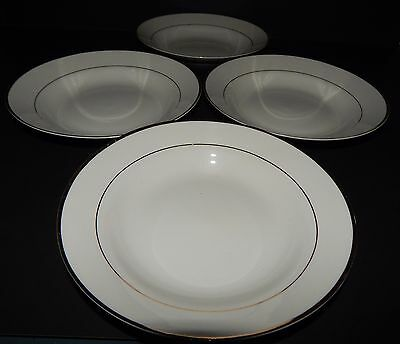 4 Gibson Designs Housewares Everyday China White Gold Rim Soup Cereal Bowls