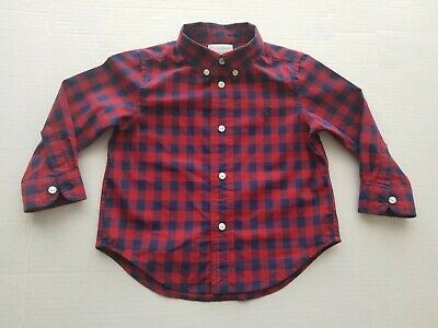 Ralph Lauren Boy's Baby/Toddler Plaid Shirt Sz: 18 months long sleeve Red/Blue