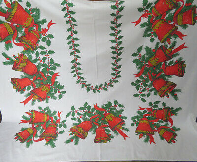 Vintage Red and White Woven Tablecloth Grape Leaf Pattern