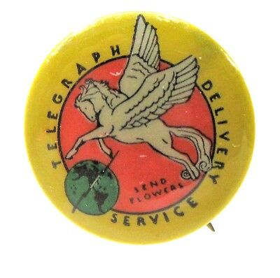 early TELEGRAPH DELIVERY SERVICE - SEND FLOWERS Pegasus pinback button ^