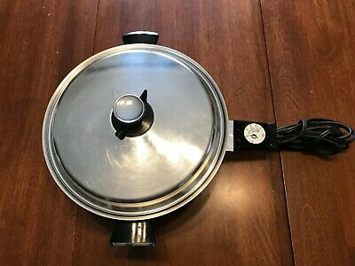VOLLRATH ELECTRIC SKILLET FRYING PAN STAINLESS STEEL  Model No 24 1200 watts