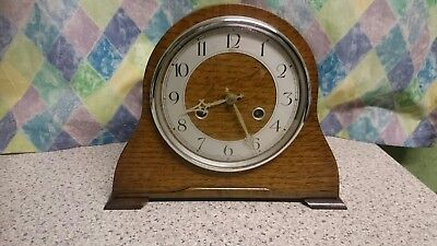Anvil Art Deco Oak Case 8 Day Striking Mantel Clock G.W.O
