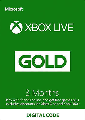 Xbox Live Gold 3 Month Membership Xbox One & Xbox 360