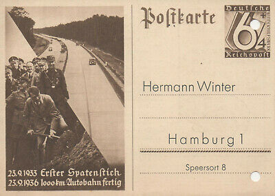 "Germany Third Reich 1936 Autobahn construction highway *very rare postcard"" LOOK"