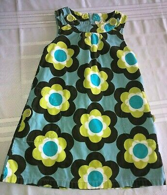 55144abd1910 MINI BODEN GIRLS Blue Green Brown Floral Corduroy Dress Size 5-6 ...