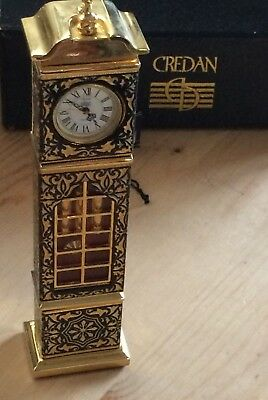 Vintage Credan Miniature Grandfather Clock 24k gold Color Damasquinado