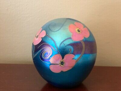 Studio Glass Signed Vandermark Iridescent Paperweight With Flowers 0502 No Year