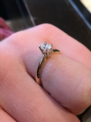 Vintage 14k Yellow Gold .33 Ct Diamond Solitaire Engagement And Anniversary Ring