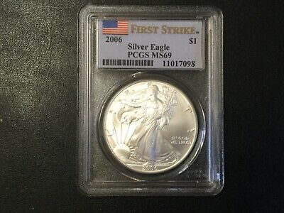 2006 American Silver Eagle Dollar First Strike Pcgs Ms69 Certified Coin!