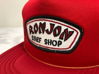 fe73cb1321924 VTG 80 s RON JON Surf Shop Patch Red Partial Mesh Snapback Trucker Hat RARE!