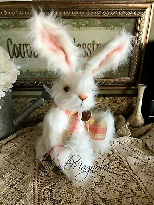 "Folk Art Bunny ""Snowflake"" Artist Doll Fully Jointed Handmade Tattered Magnolia"