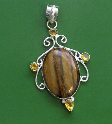 "Tigers Eye Citrine Royal 925 Silver Plated 2.75"" Pendant"