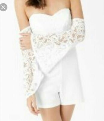 91bf3a2d98 LIPSY WHITE LACE Playsuit BNWT Size 14 -  17.00