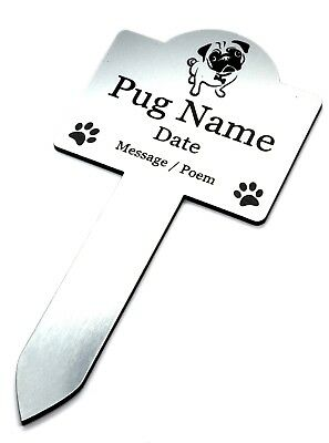 Personalised Pet Pug Memorial Plaque Stake SILVER - Outdoor Garden Waterproof