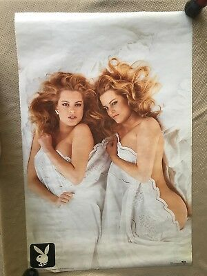 "RaRe. vintage Playboy Twins poster 23x35"" bed cave girl sexy dorm hot 90s (1991)"