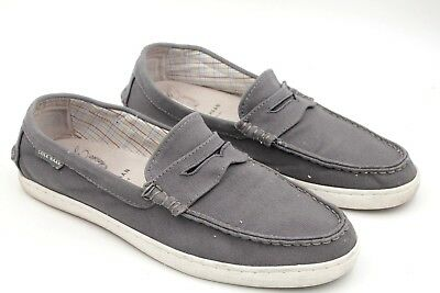 33e26225cf1 COLE HAAN GRAND.OS Men US 10M Grey Canvas Penny Loafer Pinch Maine Classic