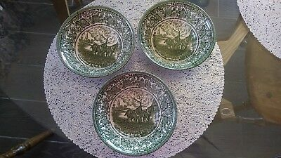 "3 Staffordshire. 6 5/8"" English Ironstone Bowls Green Spring on the Home Farm"