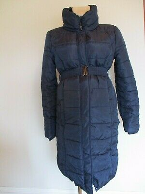 Mama-Licious Maternity Long Navy Quilted Coat Mac Jacket Size M Uk 10-12