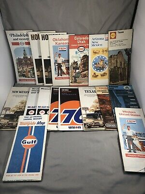 VTG Oil & Gas Maps 1970s Lot of 17 Maps Shamrock Esso FINA Texaco Gulf Conoco