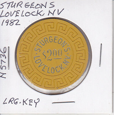 $2 Casino Chip-1982 Sturgeons, Lovelock, Nv Lrg Key Mold #N5736 Rare & Nice!