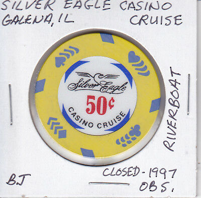 Casino Chip Token $.50 Fract. Silver Eagle Casino Cruise Riverboat Closed Obsole