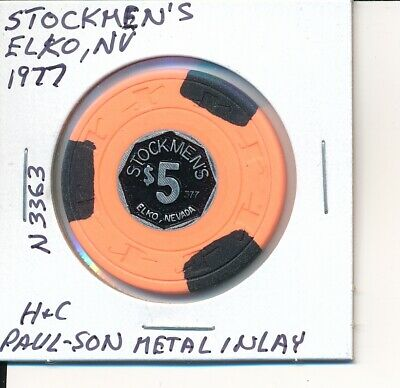 $5 Casino Chip - 1977 Stockmen's, Elko, Nv H&C Paulson Metal Inlay #N3363 Orange