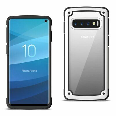 Reiko Samsung Galaxy S10 Heavy Duty Rugged Shockproof Full Body Case In White/Cl
