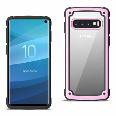Reiko Samsung Galaxy S10 Heavy Duty Rugged Shockproof Full Body Case In Pink/Cle