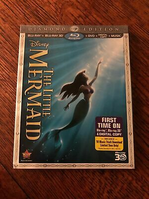 The Little Mermaid (Blu-ray/DVD, 2013, Diamond Edition With 3D) - No Digital