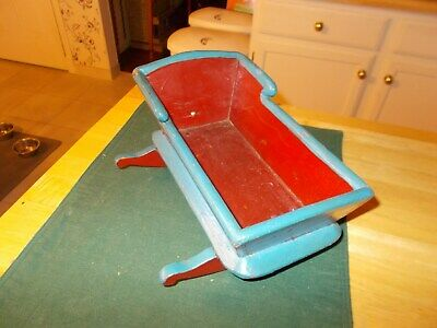 Late 1800S Early 1900S Hand Made Doll's Cradle In Original Red/blue Paint Cute