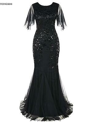 Women 1920's Vintage Style Print Sequin O Neck Long Prom Gowns Party O041