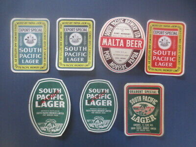 7 different SOUTH PACIFIC  Brewery,Port Morsby ,New Guinea Beer Labels ,
