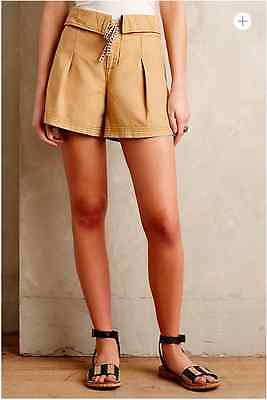Anthropologie Pleated Linen Cotton Short Color Bronze size 4 by Hei Hei