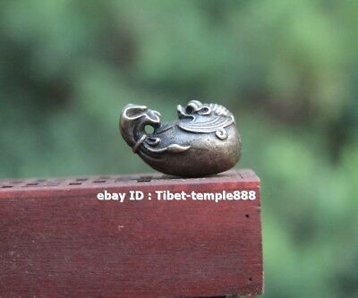 3 CM Tibet Pure Bronze Silver-gilt Wealth Blessing Sack Bat lucky Amulet Pendant