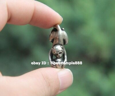 3.5 CM Bronze Silver-gilt China Zodiac Animal lucky Monkey Wealth Amulet Pendant