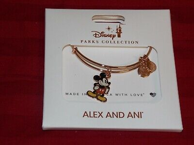 Disney Parks Alex And Ani Mickey Mouse Silhouette Gold Charm Bracelet New