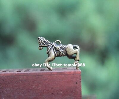 3.5 CM Pure Bronze Chinese Zodiac Animal Equine Horse Sculpture Amulet Pendant