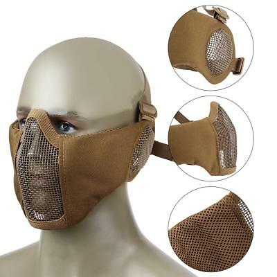 Adjust Tactical Half Face Steel Wire Mesh Mask with Ear Protection for Airsoft