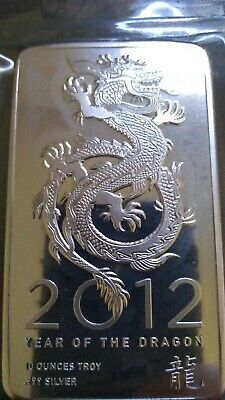 10 troy oz.  ounces .999 fine silver bar...Year of the Dragon 2012...Rare