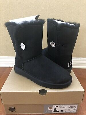 457f0f8602a UGG BAILEY BUTTON Crystal BLING WOMEN SHORT BOOTS SUEDE BLACK US 9 /UK 7.5/  EU40